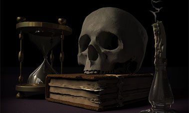 skull on a book like from a movie representing something dreadful