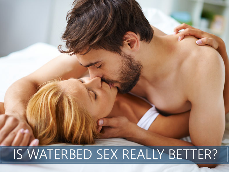 Image showing a couple kissing in waterbed before sexual intercourse
