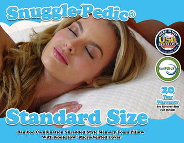 Image of a woman lying on-snuggle pedic pillow