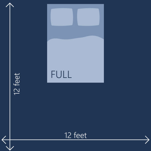 12 feet room and full bed illustrated