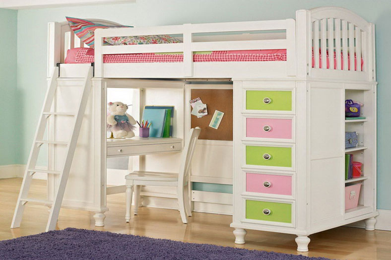 image of a loft bed and study space for kids