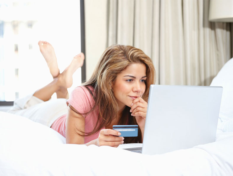 image of a woman shopping online