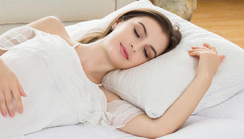 woman sleeping on bamboo pillow