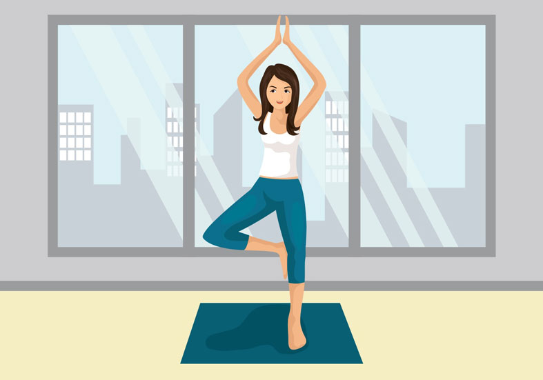 woman practicing yoga as part of lifestyle habits change