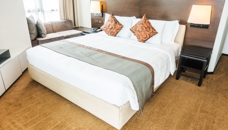double bed with pillows