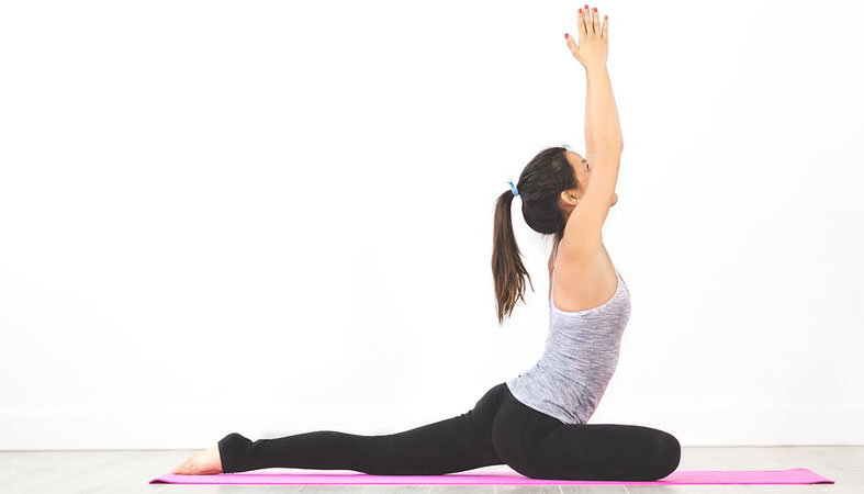 woman in a pigeon pose