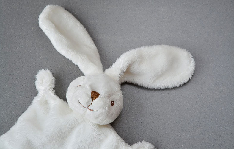 white bunny security blanket
