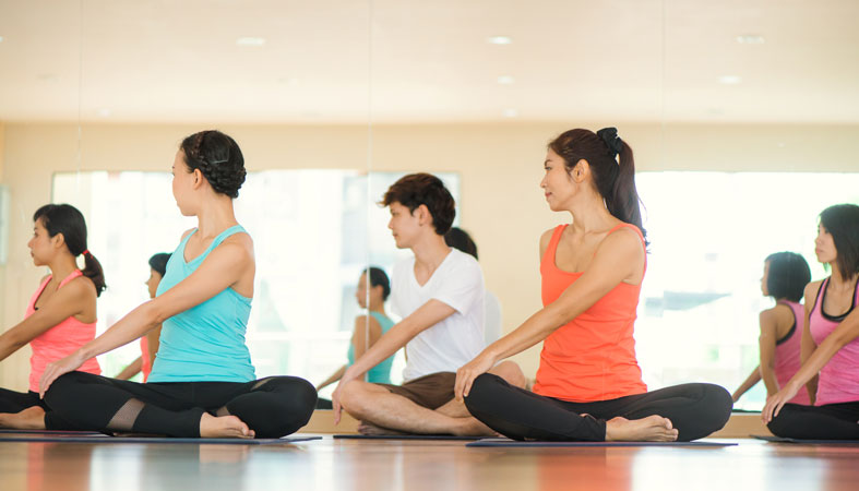 women at the yoga class