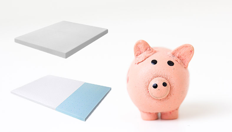 two mattresses topper with a cute piggy bank