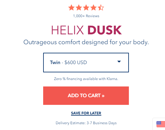 helix bed size