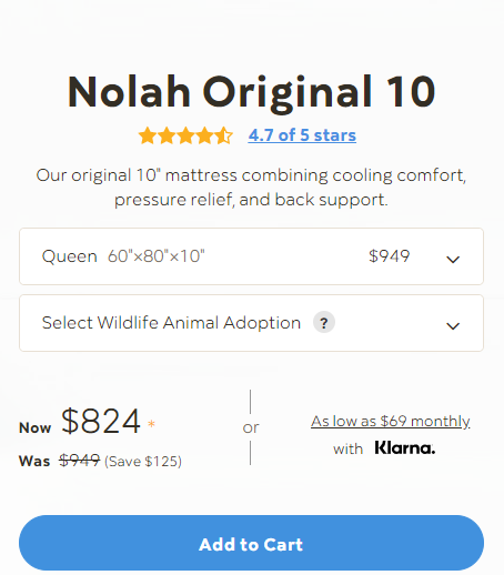 nolah bed size and price