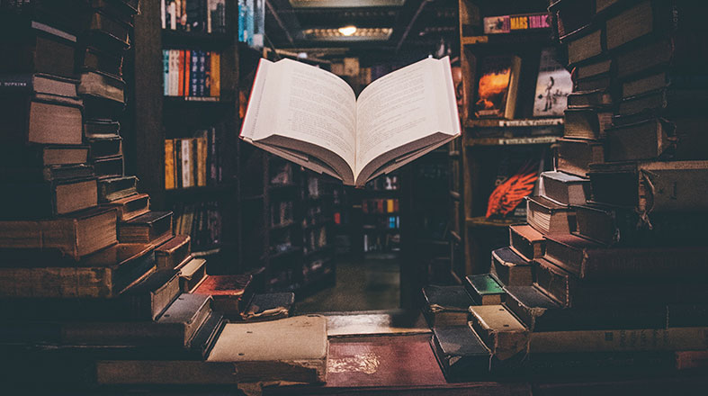 artsy photo of books