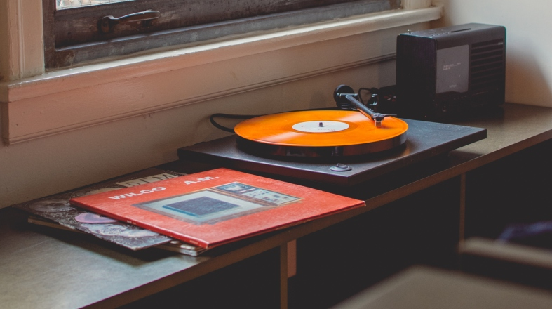 Vinyl record player on the table