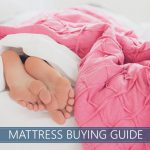 buyer's guide image with a person lying on white mattress and pink sheets