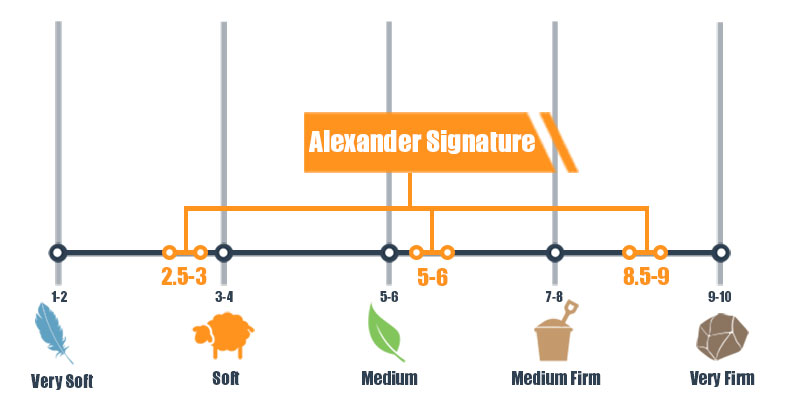Firmness scale for Alexander Signature Hybrid mattress