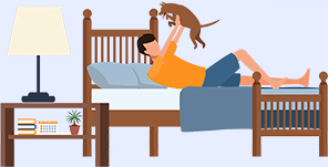 Illustration Of Man Playing With Dog In a Bed