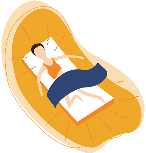 Illustration Of a Man Sleeping On A Hot Summer Night