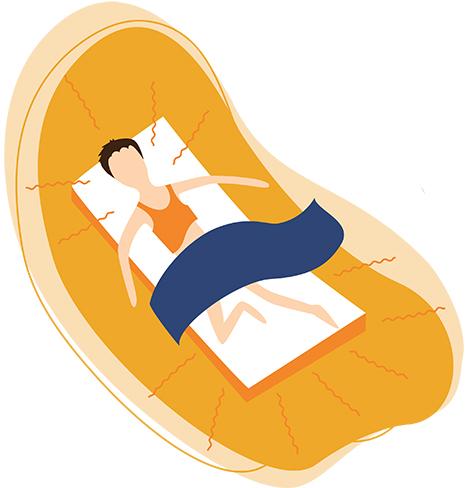 Illustration Of a Man Sleeping On A Hot Summer Night