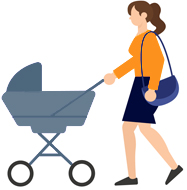 Illustration Of a Woman Pushing Stroller