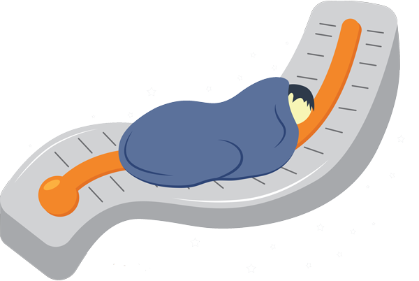Illustration of a Boy Sleeping on a Thermometer