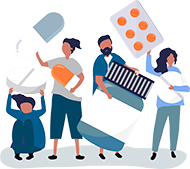Illustration of a Group Of People Holding Pills In Hands