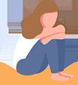 Illustration of a Sad Girl