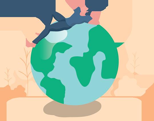 Man Lying Down On Earth Illustration