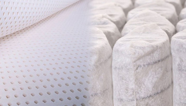 Talalay latex and pocketed coils on the right side of the photo