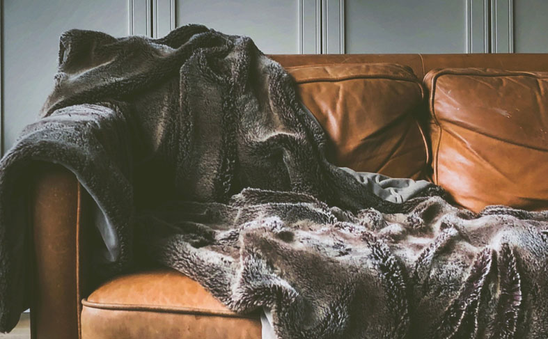 decorative faux fur blanket on sofa