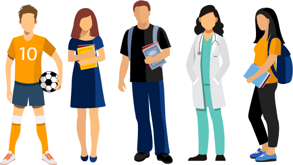 Illustration Of a Group Of College Students