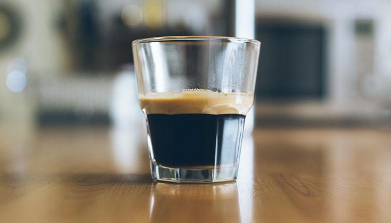 espresso coffee in the glass