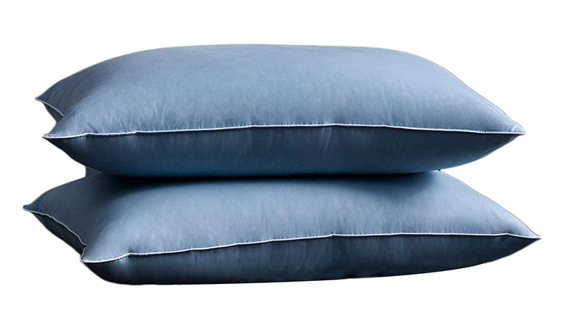 two big blue pillows for sleeping