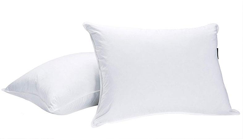 two white down pillows