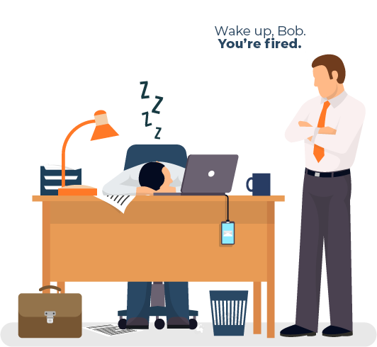 Illustration Of Bob Sleeping at Work and His Angry Boss