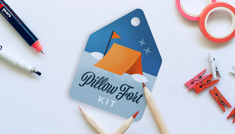 pillow fort kit gift tag