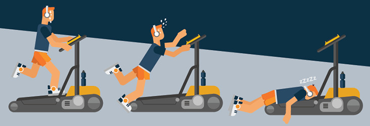 A Man Collapsing on a Treadmill - Illustration