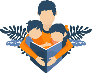 Illustration of a Father Reading a Bedtime Story To His Kids
