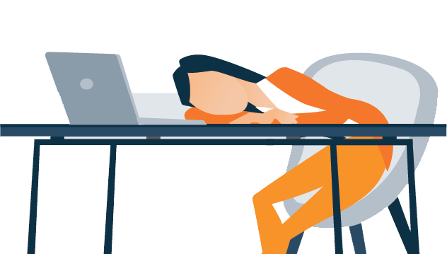 Illustration of a Lady Napping On The Job