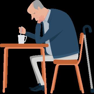 Elderly Man Can't Sleep Illustration