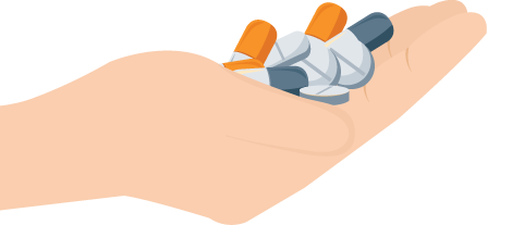 Hand Full of Medications Illustration