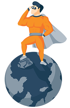 Illustration Of a Superhero Standing on Top of the Planet