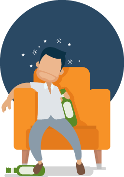 Illustration of a Drunk Man Falling Asleep