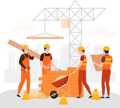Illustration of a Construction Workers