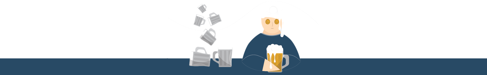 Illustration of a Man at the Bar and Drinking a Lot of Beer