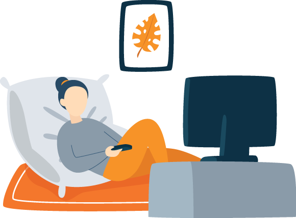 Illustration of a Young Woman Watching TV Before Bed