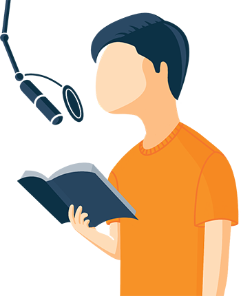 Narrator Reading a Book Illustration