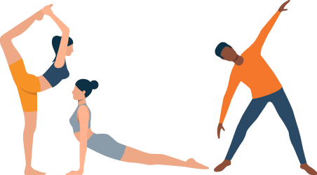 Two Girls and a Guy Practicing Yoga