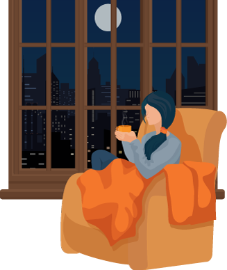 Young Woman Drinking Late Night Coffee Illustration