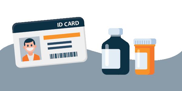 illustration of government ID, prescription bottles