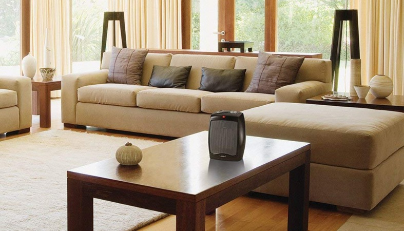 image of a beige living room with a heater in it
